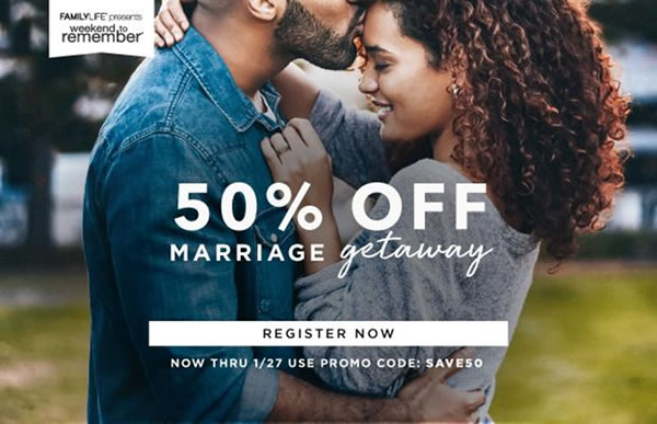 50% off Marriage Getaway - Register Now!